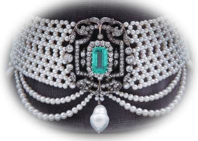 Estate pearl choker with 8 ct emerald and diamonds
