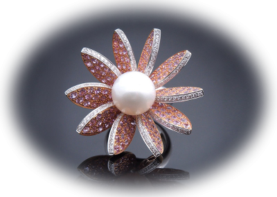 Flower pearl ring with pink sapphires and diamonds