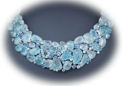 Necklace with carved and cabochon aquamarines and blue and white sapphires in 18kt white gold