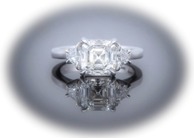 Ring with 2.25ct Asscher in platinum