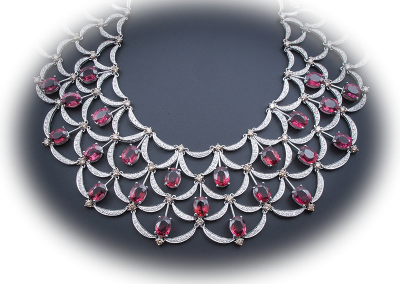 Rubelite and diamond necklace in 18kt white gold