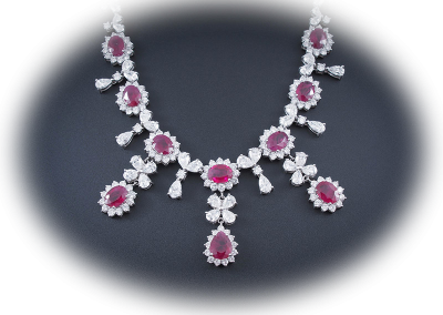 Ruby and diamond necklace in platinum