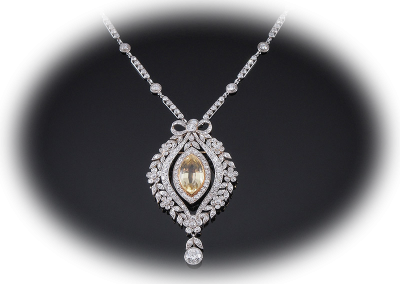 Victorian necklace with a yellow sapphire and diamonds in platinum