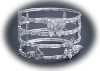 Diamond butterfly cuff bracelet in 14kt white gold