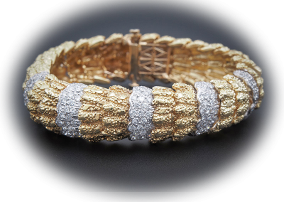 Estate 5 ct diamond and 14kt yellow gold bracelet
