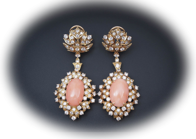 Estate coral and diamond earrings in 18kt yellow gold