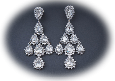 Estate eariings with 14.52cts of rose-cut diamonds in platinum