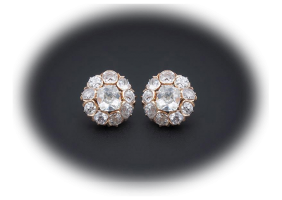 Victorian earrings with 7 cts Old European cut diamonds in 18kt rose gold