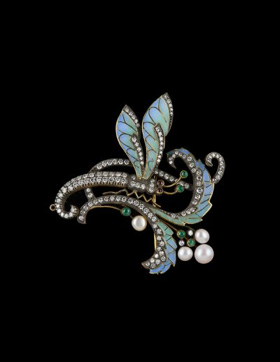 Estate brooch with diamonds emeralds rubies pearls and enamel in 18kt yellow gold and silver