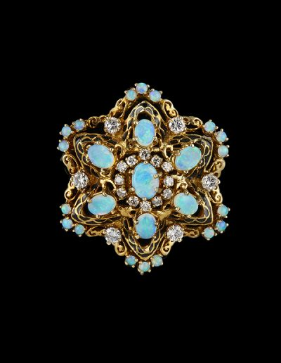 Brooch with opals diamonds and enamel in 14kt yellow gold