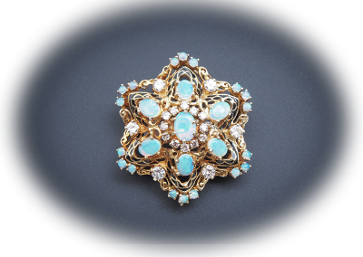 Brooch with opals, enamel and diamonds