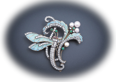 Plique A Jour brooch with pearls, diamonds, emeralds and rubies
