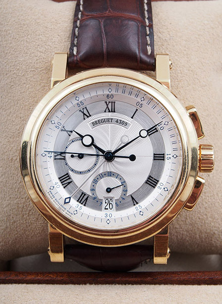 Breguet Marine Chronograph in 18kt yellow gold with alligator strap
