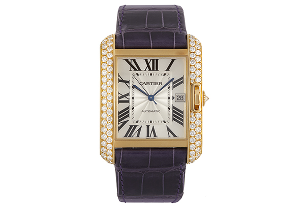 Cartier Large Tank Anglaise, 18K yellow gold with Diamonds, Blue Croc Strap - Front
