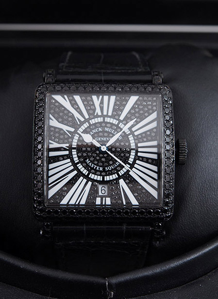 Franck Muller Master Square with black diamonds in stainless steel