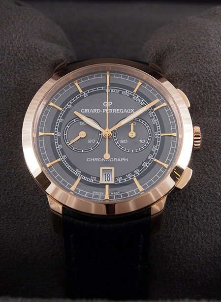 Girard Perregaux 1966 Column-Wheel Chronograph in 18kt rose gold with crocodile strap
