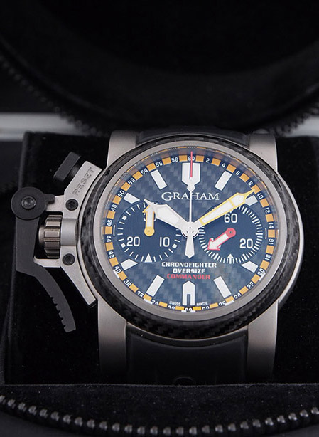 Graham Chronofighter Oversized Commander in titanium with rubber strap