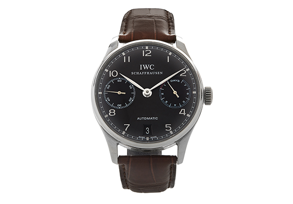 IWC Portuguese 7 day power reserve in 18K white gold and crocodile strap - Front