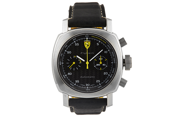 Panerai Limited Edition Ferrari Flyback Chronograph in Stainless Steel with leather strap - Front