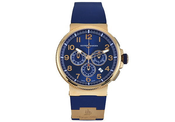 Ulysse Nardin Limited Edition Marine Chrono Voyage Blue in rose gold with rubber strap - Front