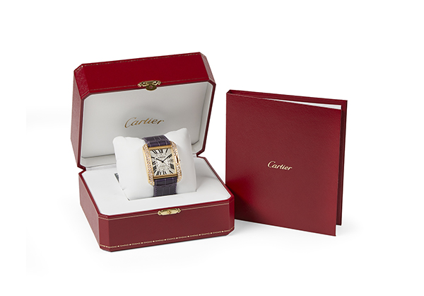 Cartier Large Tank Anglaise, 18K yellow gold with Diamonds, Blue Croc Strap - Box