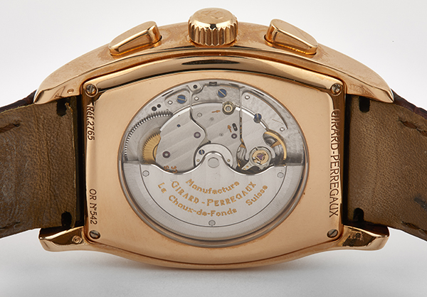 Girard Perregaux Richevelle Chronograph in 18K rose gold and crocodile strap - Back