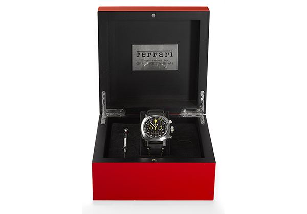 Panerai Limited Edition Ferrari Flyback Chronograph in Stainless Steel with leather strap - Box
