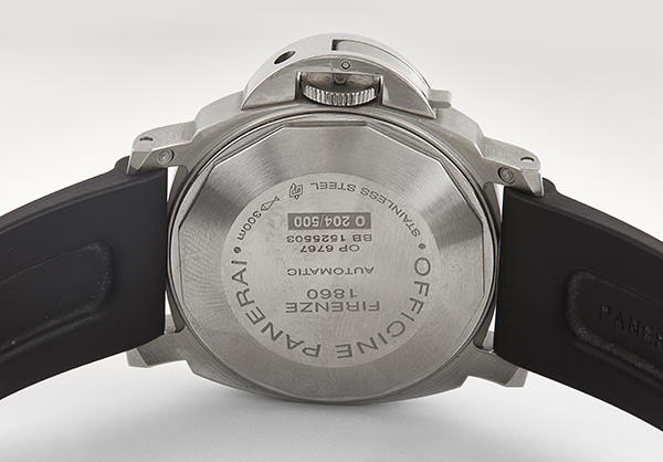 Panerai Luminor Power Reserve in Stainless Steel with rubber strap - Back