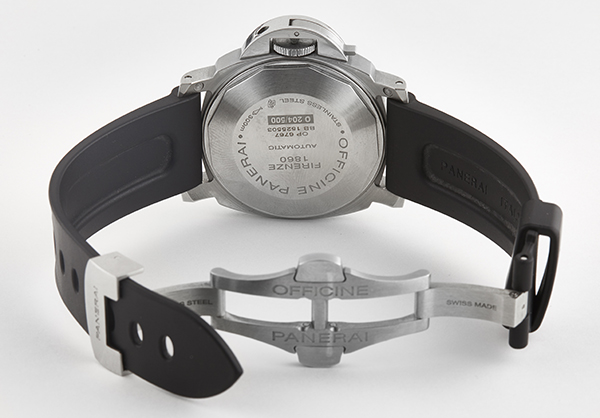 Panerai Luminor Power Reserve in Stainless Steel with rubber strap - Open