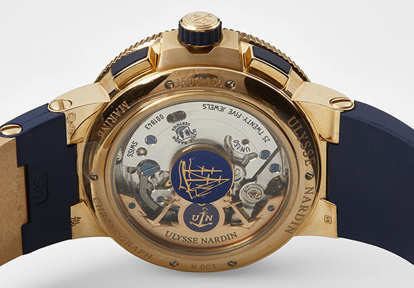 Ulysse Nardin Limited Edition Marine Chrono Voyage Blue in rose gold with rubber strap - Back
