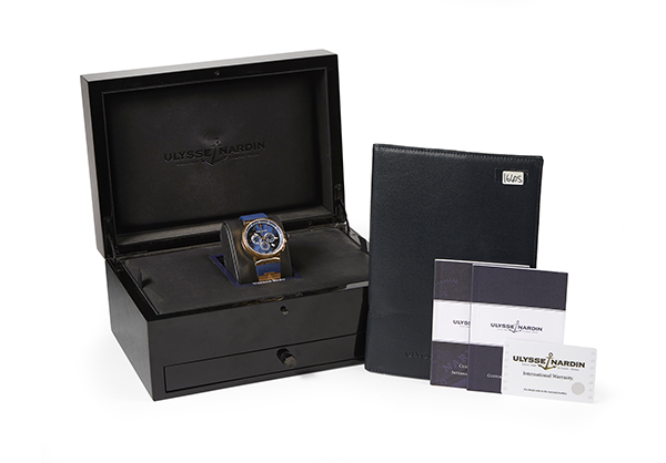 Ulysse Nardin Limited Edition Marine Chrono Voyage Blue in rose gold with rubber strap - Box