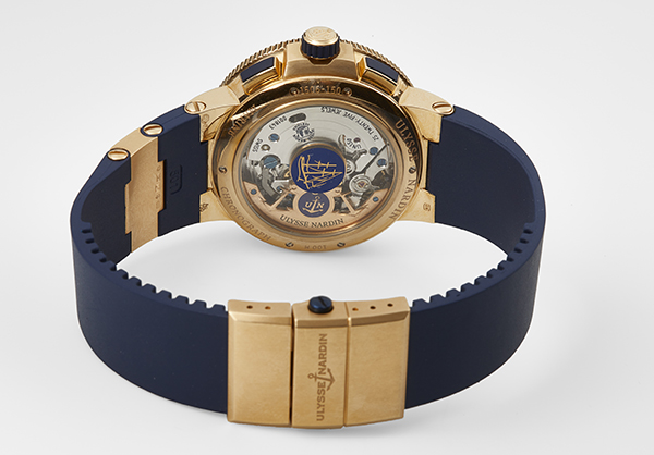 Ulysse Nardin Limited Edition Marine Chrono Voyage Blue in rose gold with rubber strap - Closed