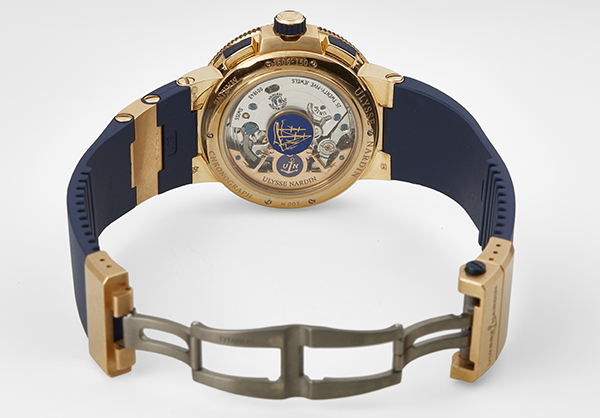 Ulysse Nardin Limited Edition Marine Chrono Voyage Blue in rose gold with rubber strap - Open