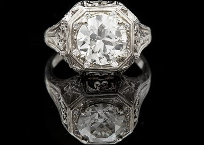 Estate ring with a 2.36 ct Old European cut center diamond in 14kt white gold