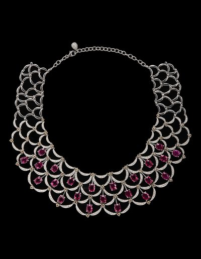 Necklace with 52.65 carats of rubelite and 7 carats of diamonds in 18kt white gold