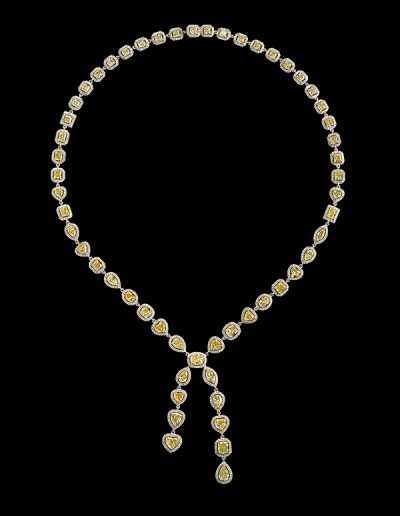 Lariat necklace with 19.80 carats of yellow diamonds and 4.01 carats of white diamonds in 18kt white and yellow gold