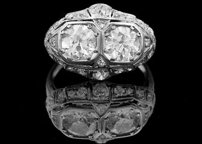 Estate ring with 2.07 carats of center diamonds and 0.30 cts of side diamonds in platinum