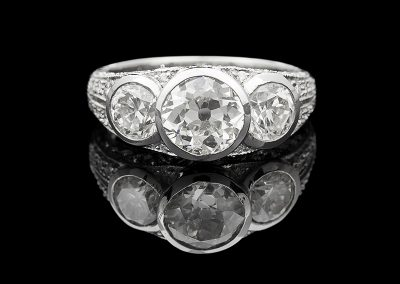 Ring with 1.42 carats of Old Mine cut center diamonds in platinum