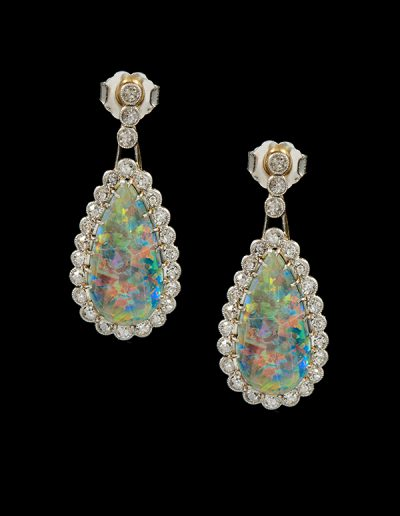 Antique earrings with opals and diamonds in 14kt white and yellow gold