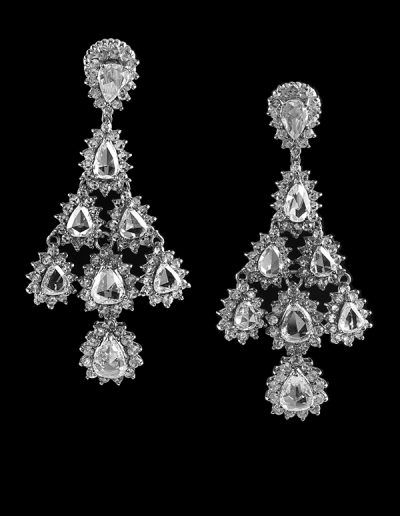 3 Estate chandelier earrings with 11.72 carats of rose cut diamonds in 18kt white gold