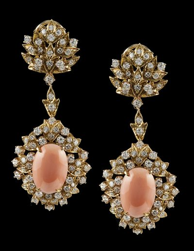 Estate earrings with angel skin coral and 6 carats of diamonds in 18kt yellow gold