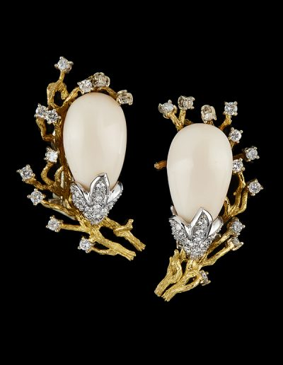 Estate angel skin coral earrings with diamonds in 18kt yellow and white gold