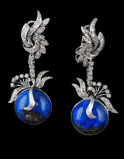 Estate earrings with lapis and 1 carat of diamonds in 18kt white gold