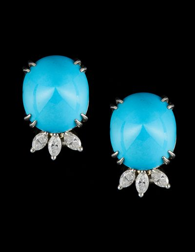 Turquoise earrings with 0.75 carats of diamonds in platinum and 14kt white gold