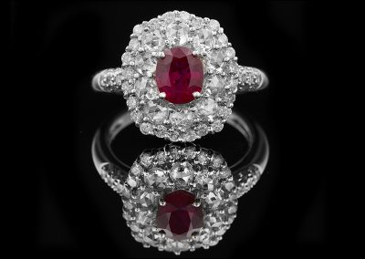 Ring with a 1.21 ct ruby and 1.17 carats of diamonds in 18kt white gold