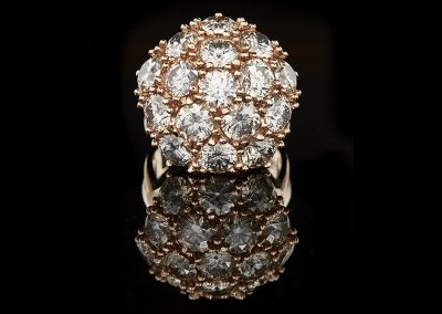 Cocktail ring with 8 carats of diamonds in 18kt rose gold