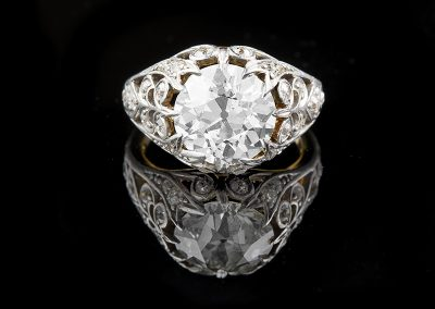 Estate ring with a 4.53 ct Old European cut center diamond and 0.20 carats of diamonds on the platinum mounting