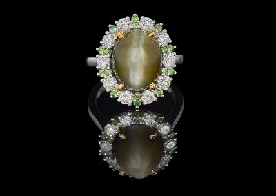 Ring with a cat s eye surrounded by diamonds and tsavorites in 18kt white and yellow gold